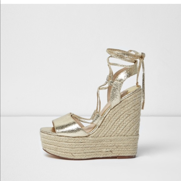 eb00b32d8b3 River Island Gold tie up espadrille wedges
